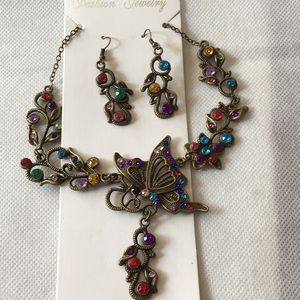 Colorful Rhinestone Butterfly Necklace & Earrings